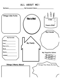 This is a work sheet designed for a first therapy session with a child. It allows to build rapport, get to know the basics, and to explore a couple in-depth items, such as fears and worries. Hope you enjoy and find this useful! Elementary School Counseling, School Social Work, School Counselor, Counseling Activities, Art Therapy Activities, Counseling Worksheets, Group Counseling, Work Activities, Coping Skills