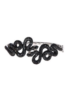Black Spinel & White Diamond Double Snake Bangle by Savvy Cie on @HauteLook