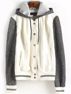 Hooded Drawstring Contrast Sleeve Striped White Jacket-romwe