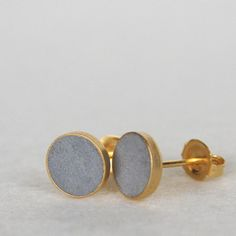 concrete jewelry! Dots Earrings Gold Plate