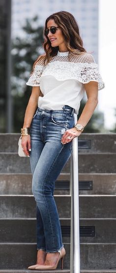 #fall #outfits  women's white illusion turtleneck lace shirt and blue denim stone-wash straight cut jeans and tan leather pointed-toe pumps outfit