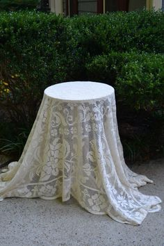 Plain table with lace table cloth.  #lace #rusticweddings #wedding #weddingdecore #whitebootsbridal #georgiaweddings #weddinginspiration #bridal #rustic