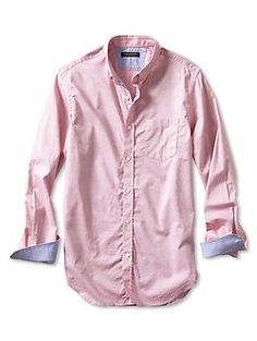 Tailored Slim-Fit Soft-Wash Red Dobby Button-Down Shirt | Banana Republic