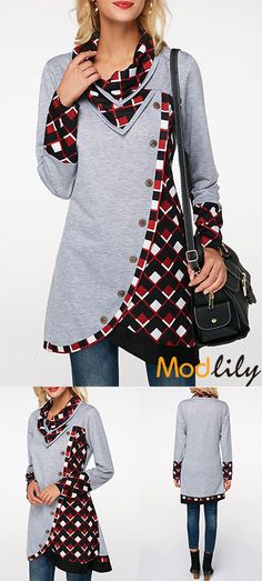 Long Sleeve Tulip Hem Printed Sweatshirt On Sale At Modlily. Free shipping and cheap. Action now. Stylish Outfits, Cool Outfits, Printed Sweatshirts, Different Fabrics, Winter Outfits, Tunic Tops, Couture, Upcycled Textiles, Refashioned Clothing