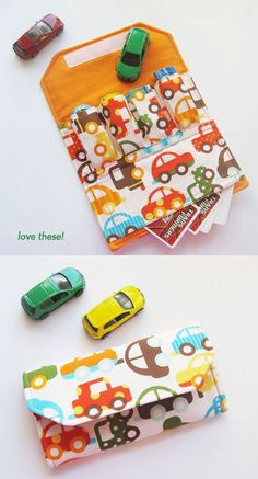 Car Wallet - great idea for traveling anywhere with little boys! Should Also Sew a Fold up Road Map to Play On With This Of Your Neighborhood They Learn how to Get Home If Ever Get Lost (God Forbid! But Still, Boys will Be Boys!)