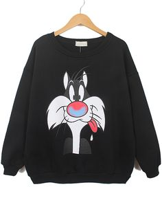 Black Long Sleeve Cartoon Cat Print Sweatshirt