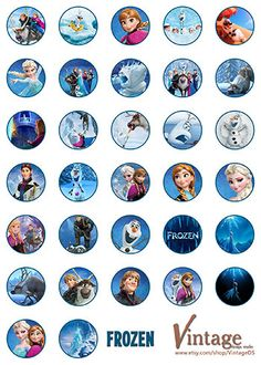 Disney Frozen Birthday party Hershey Kiss Stickers Images digital file girl boy DIY 0.75 inch Olaf Sven Kristoff Hans Anna Elsa