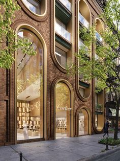 Design Cartier store in Manhattan, New York / Commercial building / mix use. Design and Visualization by A.Masow Architects Design Cartier store in Manhattan, New York / Commercial building / mix use. Design and Visualization by A. Architecture Arc, Cultural Architecture, Commercial Architecture, Amazing Architecture, Architecture Details, Building Facade, Building Design, Arch Building, Glass Building