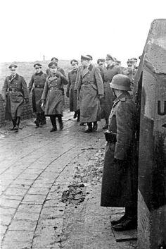 Field Marshal Erwin Rommel in Belgium, inspecting the Atlantic wall Luftwaffe, Erwin Rommel, Field Marshal, Germany Ww2, Afrika Korps, Ww2 Photos, War Photography, German Army, Military Life