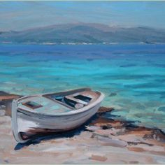 Seascape Paintings by Justin Tew Seascape Paintings, Landscape Paintings, Landscapes, Boat Painting, Watercolor Painting, Boat Art, Muse Art, Nautical Art, Beach Scenes