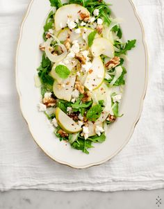 Pear & Fennel Salad by Love & Lemons: 2 ripe pears, 1 small fennel bulb, squeeze of lemon, a handful of arugula or other baby salad greens, 1/4 cup toasted walnuts, 1/4 cup crumbled feta, a few mint leaves  Dressing: 1/4 c olive oil, 1-2 Tbsp sherry vinegar, 1/2 to 1 tsp dijon mustard, 1/4 tsp honey (optional), pinch of red pepper flakes, salt & pepper