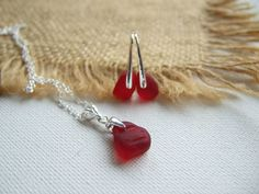 Red Seaham sea glass jewelry set bright red sea by TiliabytheSea