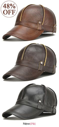 f1b250a3fd3  48%off Men Genuine Leather Cowhide Baseball Cap With Ears Flaps Thick  Winter