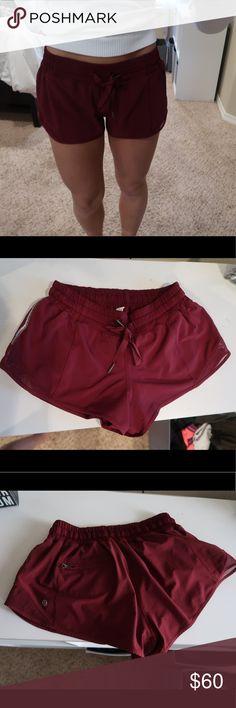 """Hotty hot lululemon Shorts 6 Lululemon Hotty hot short shorts 2.5"""" inseam size 6 in a maroon color. Bought this year in April but did not wear in the summer. In absolute perfect condition! lululemon athletica Shorts Skorts"""