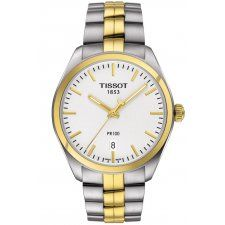 Tissot PR 100 Rose Swiss quartz watch featuring a whitedial with two-tonecase, gold hands and date display. Two-Tone PVD plated stainless steel case and bracelet.Brand:TissotBand Color:Two-Tone (Gold / Silver)Band Material:Stainless SteelBand Width Stainless Steel Watch, Stainless Steel Bracelet, Daniel Wellington, Tissot Mens Watch, Le Locle, Fossil, Swiss Made Watches, Timberland, Watch Brands