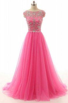 Long Prom Dresses Beaded Bodice Tulle Skirt pst0434