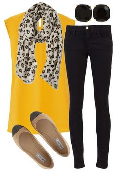 A Simple Look, bright yellow blouse, skinnies and flats