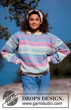 """DROPS 19-23 - DROPS jumper with pattern borders in """"Karisma"""". Ladies and Men's size S – L. - Free pattern by DROPS Design"""