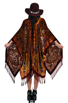 Burgundy and Burnt Orange Paisley Velvet Burnout Gypsy Beaded Fringe Tassel Kimono Duster. $265.00, via Etsy.