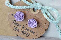 Handmade spring earrings, floral jewelry, flower studs, flower earrings, bachelorette gift  Available in my Etsy store:  https://www.etsy.com/ca/listing/508921536/romantic-handmade-rose-earrings-i-love
