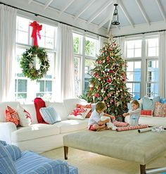 Coastal living room decorated for Christmas - love that room, but the article is so valuable!  Don't be a Scrooge this Christmas.