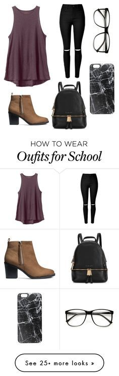 """""""Outfit for school"""" by fabiola-rivera-morales on Polyvore featuring moda, RVCA, H&M, Michael Kors, Casetify, women's clothing, women, female, woman e misses"""