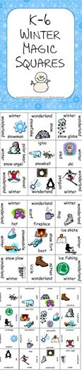 k 6 winter magic squares freebie pinterest ell students squares and. Black Bedroom Furniture Sets. Home Design Ideas