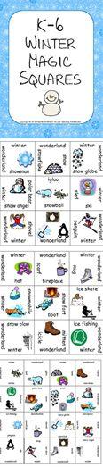 k 6 winter magic squares freebie pinterest ell students squares and. Black Bedroom Furniture Sets. Home Design Ideas