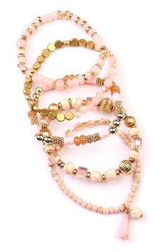 Multi Beaded Stretch Bracelet Set