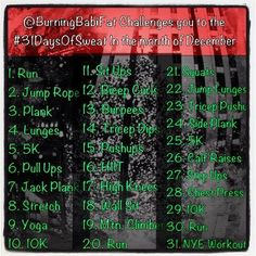 @BurningBabiFat Presents the 31 Days of Sweat Challenge for the month of December!    A new daily challenge for each day of the month!! Stay motivated this month and enter the challenge! All of the details are on today's blog post!    http://www.burningbabifat.com/2012/12/31-days-of-sweat-sweatphoto-day.html