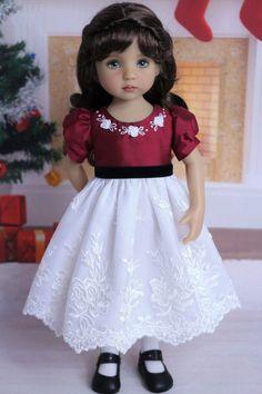"Embroidered Silk Dress for Effner 13"" Little Darling by Doll Heirloom Designs #DollHeirloomDesigns"