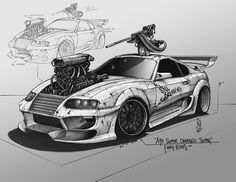 "A90 Super Charged Toyota Supra - ""Fury Rides"", Shane Molina on ArtStation at https://www.artstation.com/artwork/a90-super-charged-toyota-supra-fury-rides"