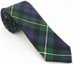CAMPBELL TARTAN SKINNY TIE 55L Green Blue Yellow Vintage Mens Wool Necktie