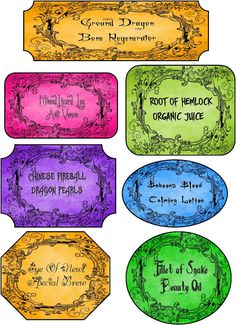 Halloween Colorful Grunge Apothecary Labels Stickers Set of 7 Glossy Paper   eBay