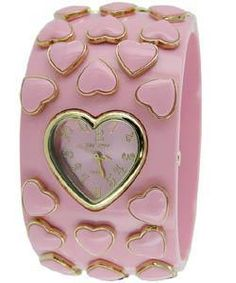 Betsey Johnson Women's Pink Heart Bangle Watch
