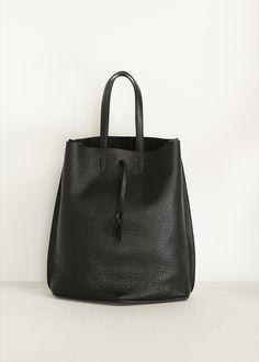 Maison Martin Margiela Pebble Leather Tote Bag (Black)  @andwhatelse