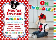 HUGE SELECTION Mickey Mouse Invitation  Red by MyCelebrationShoppe, $10.00