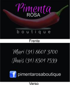 Cartão de Visitas Loja Virtual Pimenta Rosa.