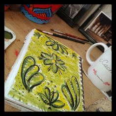 Pau Minotto's Sketchbook  #pauminotto #sunday #flowers #green #tea #painting #sketchbook