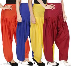 Ethnic Bottomwear - Patiala Pants Women's Solid Cotton Patiala Pant ( Pack of 4 ) Fabric: Cotton Waist Size:  M- 30 in, L- 32 in, XL- 34 in , XXL - 36 in Length: Up to 39 in Type: Stitched Description: It has 4 Pieces Of Patiala Pant Pattern: Solid Sizes Available: Free Size, S, M, L, XL, XXL, XXXL, 4XL *Proof of Safe Delivery! Click to know on Safety Standards of Delivery Partners- https://ltl.sh/y_nZrAV3  Catalog Rating: ★4.2 (5909)  Catalog Name: Eva Women's Solid Cotton Patiala Pants Combo Vol 17 CatalogID_260422 C74-SC1018 Code: 984-1971848-