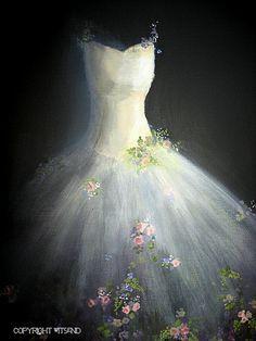 Spring Tutu painting original ooak ballet Flower by 4WitsEnd