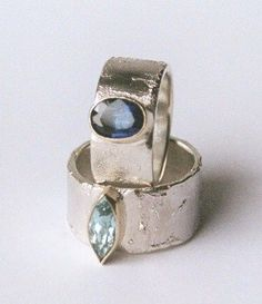 Hand made silver, and 9ct gold stone set rings by Susanna Hanl available at Franny & Filer Jewellery shop in Chorlton - www.frannyandfiler.com £220 - £260