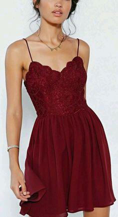 c75b302975d5 Spaghetti strap lace skater dress Short Red Dresses