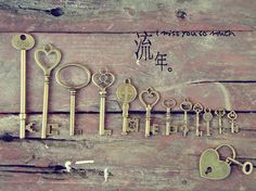 keys... Under Lock And Key, Key Lock, Vintage Keys, Vintage Love, Key Jewelry, Jewelry Making, Old Keys, Garden Birthday, Garden Doors