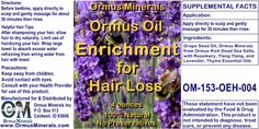 Powerful Hair Loss Formula with Rosemary, Ylang Ylang, Lavender and Thyme Essential Oils. Enhanced with Ormus from Dead Sea Salts.