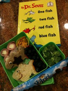 Dr Seuss One Fish Two Fish Red Fish Blue Fish themed lunch