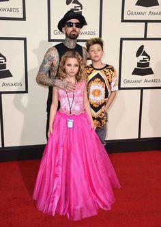 Celebs and their cute kids in Travis Barker brought kids Alabama Barker and Landon Barker to the 2016 Grammys in Los Angeles on Feb. Landon Barker, Travis Barker, Alabama Barker, Celebrity Kids, Blink 182, Red Carpet Fashion, Cute Kids, Awards, Celebs