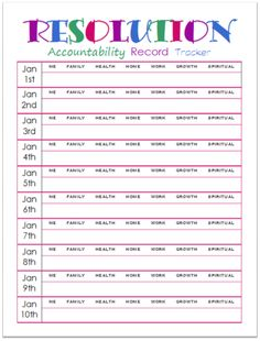 New Years Resolutions Accountability Record Tracker - daily log to keep you on track with your resolution goals StuffedSuitcase.com