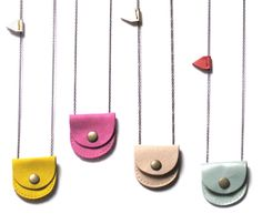 Tiny Mini Leather Lockets by Jen Booth