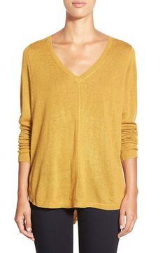 Caslon® High/Low V-Neck Sweater (Regular & Petite) | Nordstrom